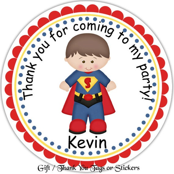Superman Super Heros Personalized Stickers Party Favor