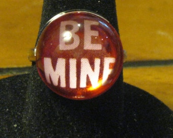 Be Mine Red and Pink Acrylic Bubble Cabochon Adjustable Ring