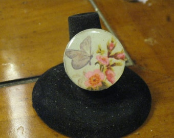 Butterfly and Pink Flowers Mirror Tile Adjustable RIng