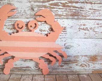 Crab, wall art, wood sign, beach, coastal, seafood restaurant, shabby chic, distressed, kitchen art, rustic, whimsical