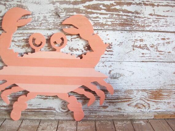 Crab wall art wood sign beach coastal seafood restaurant