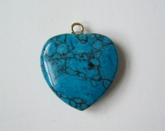 Reconstructed turquoise stone heart charm pendant 20mm