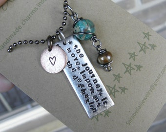 the journey is more important than the destination- quote necklace