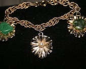 Vintage Charm Bracelet semi precious stones 3 leaf goldtone with Jade and a real pearl
