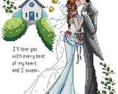 PDF file downloadable electronic pattern counted aida cross stitch pattern love couple wedding pattern KX016