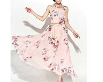 Flower pink long dress maxi dress chiffon women dress C110