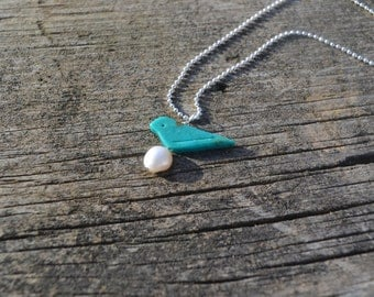 Carved Turquoise Bird Necklace, Mommy Bird Necklace, Mother's Jewelry