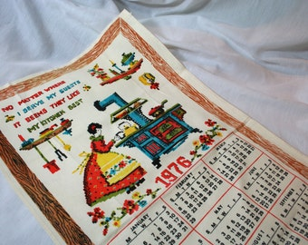 Vintage Cotton Tea Towel, Wonderful Graphics and Colors, Calendar from 1976