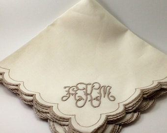 Vintage Madeira Linen Napkins, Monogramed, Set of Four, Best of the Best