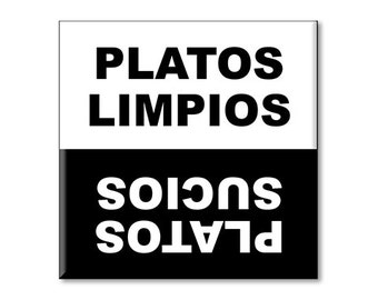 "Clean Dirty Dishwasher Magnet in Spanish 2.5"" x 2.5"" inches, Platos Limpios, Sucios"