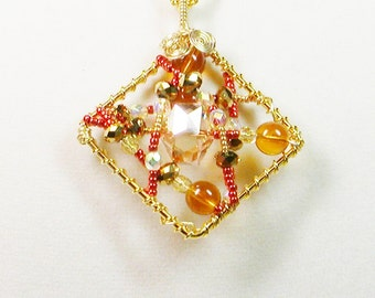 Wire Wrapped Pendant Necklace, Amber Crystal Wrapped Necklace, Amber Crystal Necklace, Pendant Necklace, Amber Necklace