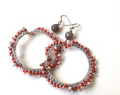 HOOP EARRINGS, WEDDING jewels, grey, red, dangle earrings, april trend, spring - ERYCOLLECTION