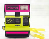 Polaroid Cool Cam, 1980s, neon pink and yellow Polaroid instant camera for 600 film