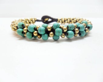 Bangle Brass Turquoise Woven