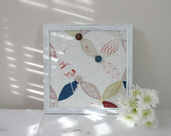 Framed Antique Quilt Piece - wall decor blue pink white shabby chic cottage nursery decor childs room decor spring mothers day easter