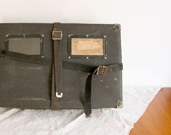 Vintage Shipping Box - black industrial straps postal container 1940s storage