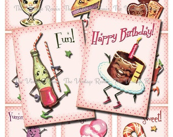 INSTANT DOWNLOAD, Printables, Retro Candy Birthday Party, Digital Collage Sheet, ATC