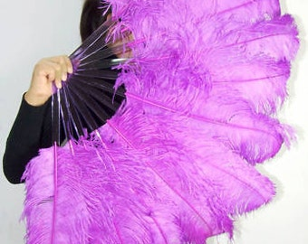 "lavender single layer Ostrich Feather Fan Burlesque Dance costume 25""x45"" in giftbox"
