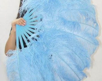 "Sky Blue single layer Ostrich Feather Fan Burlesque Dance costume 25""x45"" in giftbox"