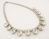 Vintage Rhinestones Necklace. 1950s jewellery. LUMINOUS WITH STARS..