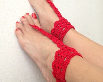 Red Aztec Barefoot Sandals, Nude shoes,bridesmaids , Wedding, Victorian Lace, Sexy, Bridal Accessories, Anklet