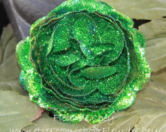 Glittered Emerald Green Ranunculus Alligator Hair Clip- Handmade Floral Headpiece
