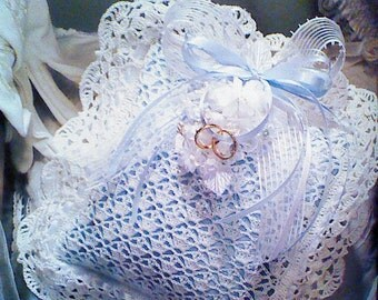 3 (Three)Vintage Crocheted Ring Bearer's Pillow Pattern