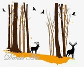 Deer in the Forest- Vinyl wall sticker- wall decal- tree decals- wall murals art - nursery wall decals- Nature- Tree