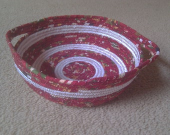 Red  Coiled rope basket will brighten any table