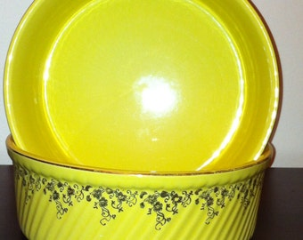 Vintage Yellow Hall Serving Bowls - two of them
