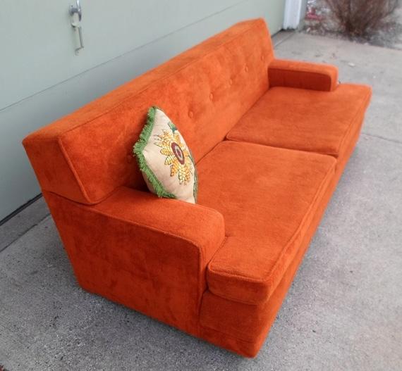 Vintage 1960 S Orange Flexsteel Sofa Couch Davenport