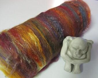 ROOSTER 4.0 oz, Spinning fiber art batt, carded wool batt, sari silk, batt, textured bling batt, Angelina fiber, felting fiber, roving