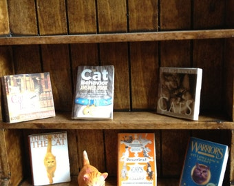 Dollhouse miniature  6 books about cats -  set 1