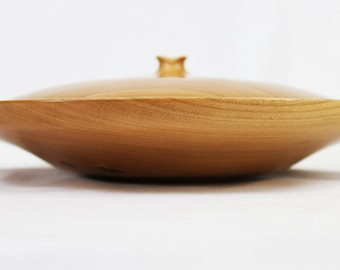 Hand Turned Lodge Style Lidded Bowl with Hand Carved Accents