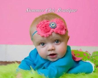 Baby Headband, Infant Headband, Toddler Headband, Pink and Aqua Baby Headband, Pink and Aqua Baby Headband, Pink and Aqua Infant Headband