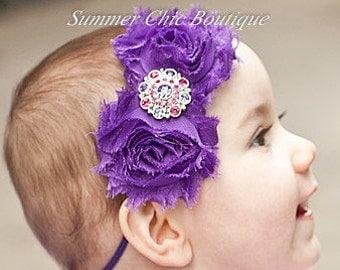 SALE Baby Headband, Infant Headband, Newborn Headband, Girls Headband - Shabby Chic Headband Purple Headband