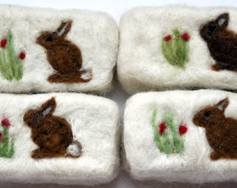Felted soap with bunny
