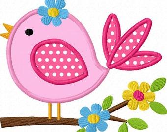 Instant Download Bird With Flower Applique Machine Embroidery Design NO:1291