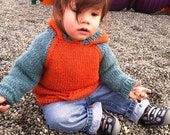 "Custom order for mizpah - orange and blue 3T hoodie sweater with ""I"" on front"