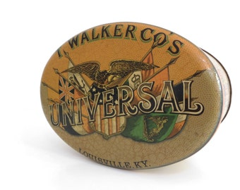 Vintage Tobacco Cigarettes Tin Box - Oval Shaped Metal Collection Box - Universal Walker Tobacco Case - 1960-70s