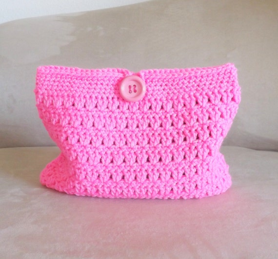 Crochet Cosmetic Bag : Crochet pink make-up bag,crochet cosmetic bag, crochet mini bag ...
