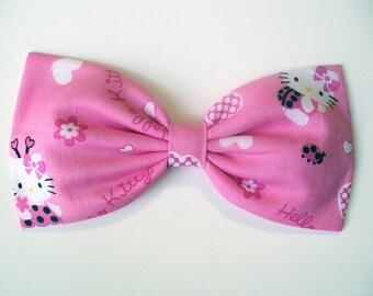 Pink Hello Kitty Lady Bug Hair Bow- Barrette, Alligator Clip, or Headband