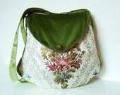 "Bohemian Bag Purse ""Brianne"" OOAK Renaissance Victorian Brocade Velvet Green Baroque Medieval Edwardian White Fairy Hippie Marie Antoinette"