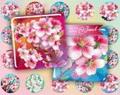 Cherry Flower - squares image - digital collage sheet - 1 x 1 inch - Printable Download