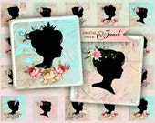Mademoiselle - squares image - digital collage sheet - 1 x 1 inch - Printable Download