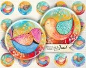 BIRD color - circles image - digital collage sheet - 1 x 1 inch - Printable Download
