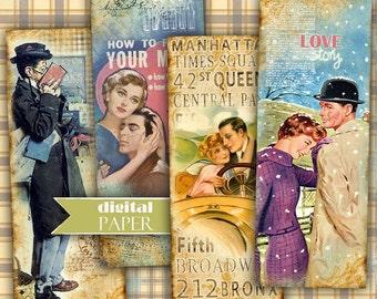Love STORY - bookmarks - set of 6 bookmarks - digital collage - printable JPG file