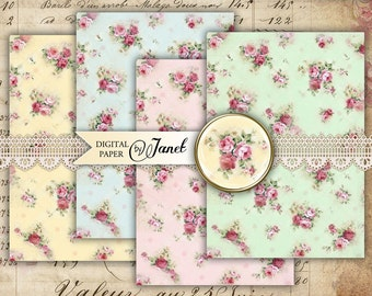 Romantic Paper Roses - digital collage sheet - set of 2 sheet - Printable Download