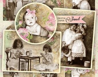 fragments of time - digital collage sheet - set of 6 - Printable Download