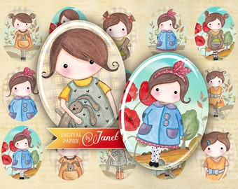 Matilda and Rabbit - oval image - 30 x 40 or 18 x 25 mm - digital collage sheet  - Printable Download
